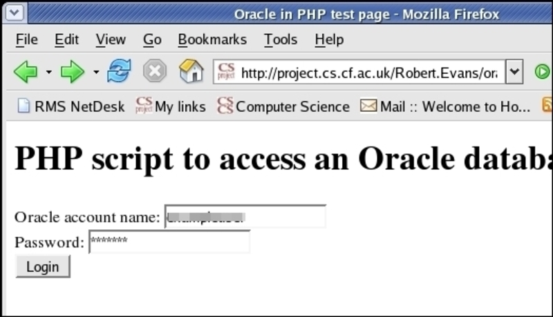 Accessing the Oracle Database with PHP